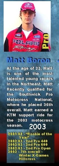 Matt Boron, Snocross Racer