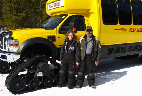 David & Linda Aksomitis, SnowRider owners, taking the Snowcoach tour in West Yellowstone in 2009