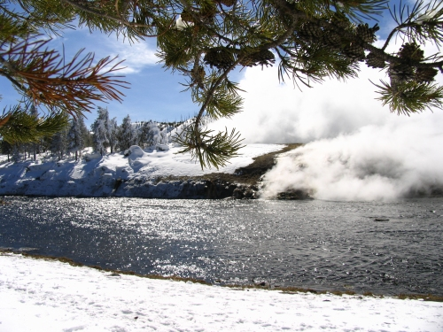 Excelcior Springs in Yellowstone National Park in winter.