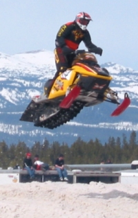 Snocross racer at the West Yellowstone Snowmobile Expo - photo taken 2004