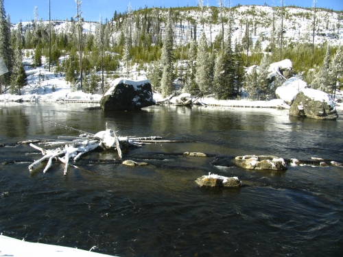 Winter scene of the Fire Hole River in Yellowstone National Park.
