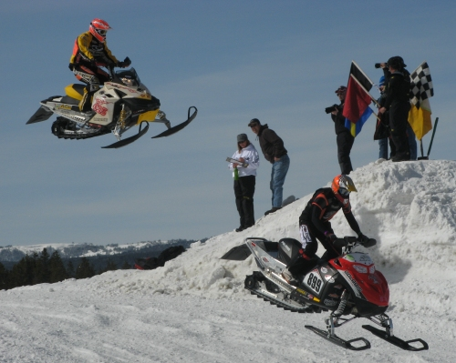 Snocross race at West Yellowstone World Snowmobile Expo - photo taken in 2009 by Linda Aksomitis